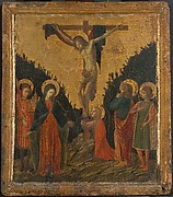 Christ on the Cross with the Virgin, Saint John the Evangelist, Saint Mary Magdalen, and Two Male Saints