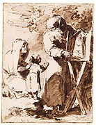 A Bearded Monk Showing a Portable Altar to a Praying Child, with an Old Woman Kneeling