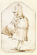 Caricature of a Man in a Mask and a Cloak, Holding a Muff and a Tricorne, Standing in Profile to the Left