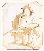 Caricature of a Seated Man with a Book and a Cane