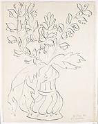 Vase of Flowers (Fleurs et feuilles d'acanthe dans un vase d'étain a godrons)