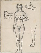 Standing Nude Woman and Studies of a Hand, Leg, and Feet