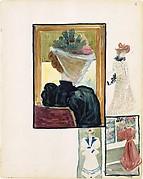 Large Boston Public Garden Sketchbook: Four vignettes of fashionably dressed women