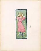7r. A girl holding her hat; 7v. Blank