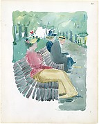 11r. A man and two women sitting in the park; 11v. Trees or clouds of smoke