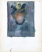 14r. A woman in a veiled hat; 14v. Blank