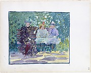 23r. A woman and two girls sitting in the park; 23v. Blank