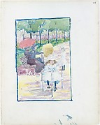 28r. A girl riding a tricycle in the park; 28v. Blank