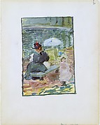 30r. A mother sitting at the edge of a pond with her baby and a young daughter; 30v. Blank