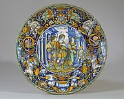Dish (coppa): The story of Aeneas: Queen Dido of Carthage welcomes Aeneas and his son.