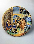 Dish (piatto): Vulcan forging an arrow for Cupid