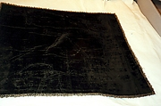 Square of black silk cut velvet with applied metal thread edging