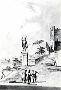 Capriccio with a Statue of a Warrior and a Ruined Castle on the Shore of the Lagoon