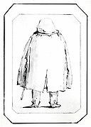 Caricature of a Man in a Voluminous Cloak, Carrying a Walking Stick, Seen from Behind