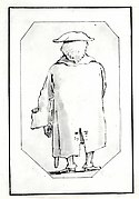 Caricature of a Man Wearing a Wig and a Tricorne, Seen from Behind