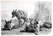 A Bull Lying Down, and Two Donkeys, in a Landscape