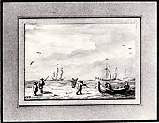 Fishing Boats and a Man with a Net