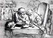 Old Couple with a Child Playing a Pipe