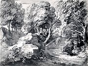 Wooded Landscape with a Man Crossing a Bridge