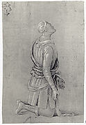 A Kneeling Man in Fifteenth-Century Costume (recto); a small, fragmentary sketch of a recumbant boy, probably by a later hand (verso)