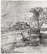 Mountainous Landscape with a Rock, Trees, and Buildings