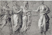A Winged Figure, two Women, and a Man