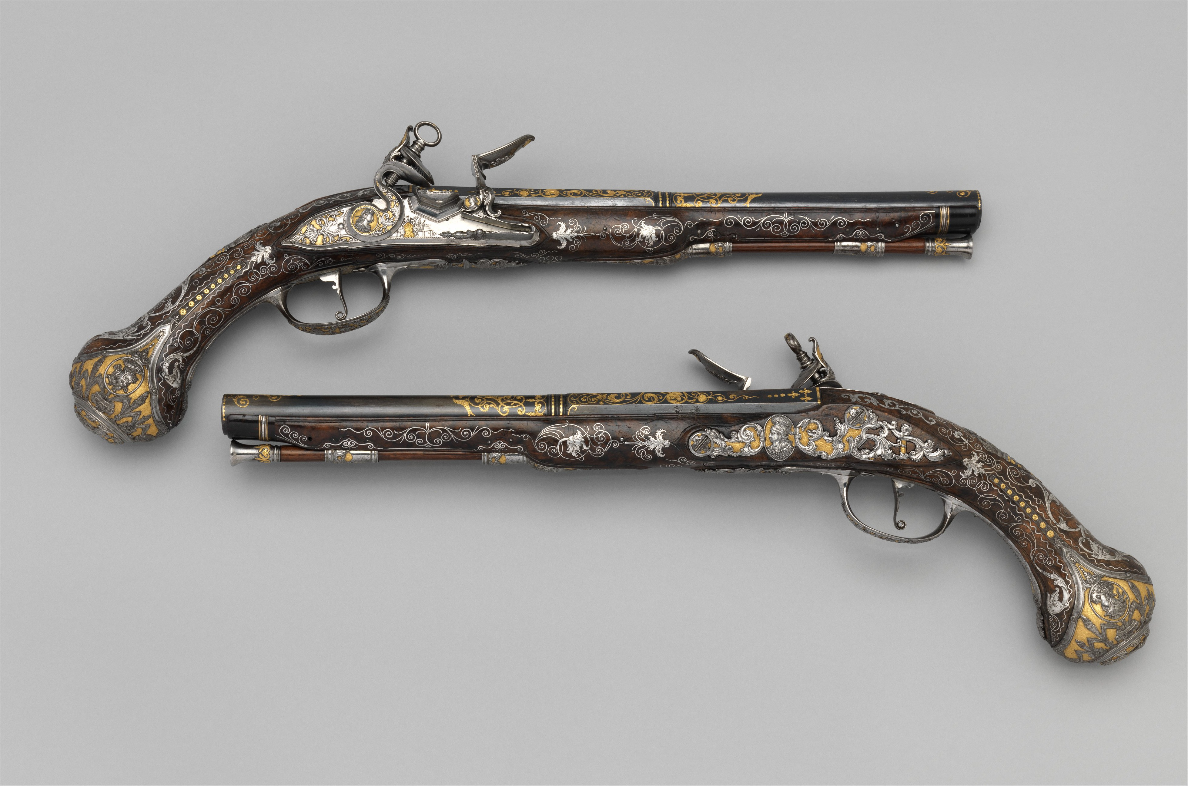 Royal Arms Manufactory At Torre Annunziata Pair Of Flintlock Pistols Made For Ferdinand Iv