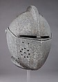 Close-Helmet for the Tournament on Foot, Steel, gold, brass, Italian, Milan; or Spanish, Eugui