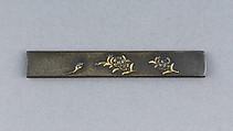 Knife Handle (Kozuka), Copper-silver alloy (shibuichi), gold, silver, Japanese