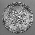 Presentation Coin (Doppelguldiner) Showing Maximilian I (1459–1519), Ulrich Ursentaler (Austrian, Hall, recorded 1508–35, Master of the Mint (Münz–Weister) at Hall in 1535), Silver, Flemish, Antwerp; dies cut in Hall, Austria