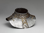 Gorget possibly from an Armor of Philip II, King of Spain, Steel, gold, leather, copper alloy, German