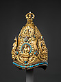 Vajracarya Priest's Crown, Copper, gold, turquoise, semi-precious stones, silver foil, Nepalese