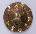Two Shield Bosses, Iron, copper alloy, gold, Langobardic