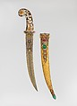 Dagger with Scabbard, Steel, copper, nephrite, agate, gemstones, colored stones, gold, silver, blade and scabbard, Turkish; hilt, probably Indian