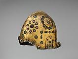 Helmet (Sallet), Steel, iron, gold, silver, cloisonné enamel, leather, textile, Spanish, possibly Granada
