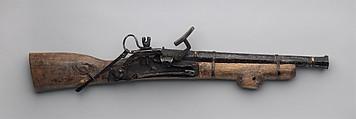 Miniature Snaphaunce Gun, Iron, wood, silver, brass, copper, Mongolian