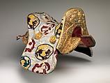 Saddle (Gser Sga) Made for Yuthok Tashi Dundrup (g.yu thog bkra shis don grub, 1906–1983), Copper alloy, iron, gold, turquoise, wood, leather, textile (silk, cotton), Tibetan, Derge
