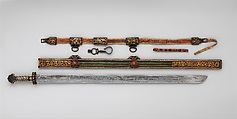 Sword Belt, Leather, iron, copper alloy, gold, Tibetan