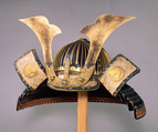 Helmet (Suji-kabuto Akoda-nari), Iron, lacquer, copper, gold, silk, Japanese