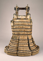 Cuirass of a Haramaki, Iron, leather, lacquer, silk lace, gilt copper, Japanese