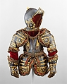 Armor of Infante Luis, Prince of Asturias (1707–1724), Signature probably refers to Jean Drouart (French, Paris, died before October 1715), Steel, gold, brass, silk, cotton, metallic yarn, paper, French, Paris