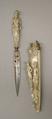 Knife with Sheath, Steel, ivory, diamond, ruby, enamel, gold, French, Dieppe