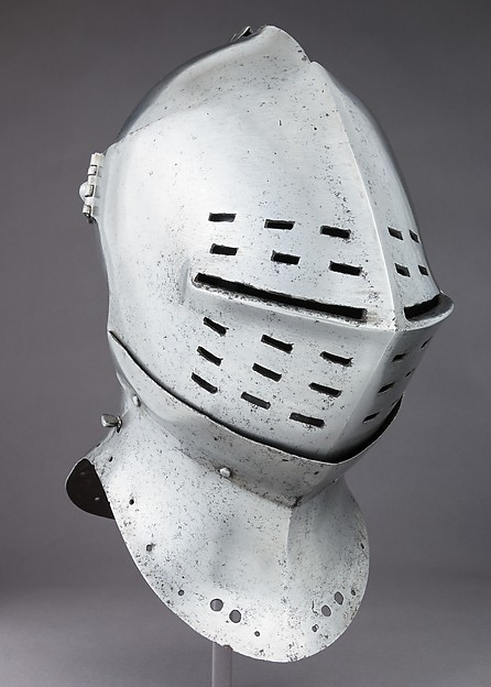 Tournament Helm, Steel, leather, textile, copper alloy, possibly British or Flemish