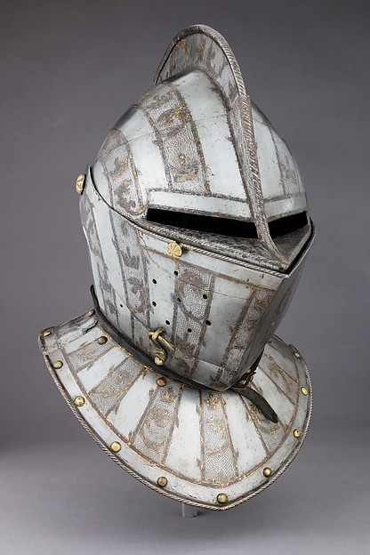 Armet, Steel, gold, leather, copper alloy, French