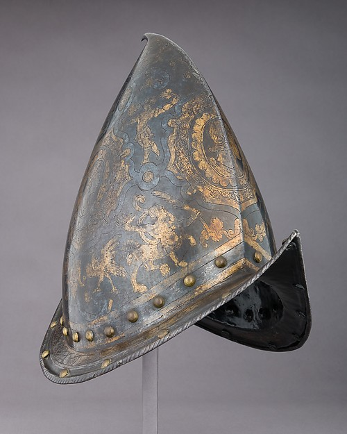 Morion-Cabasset, Steel, gold, brass, Italian