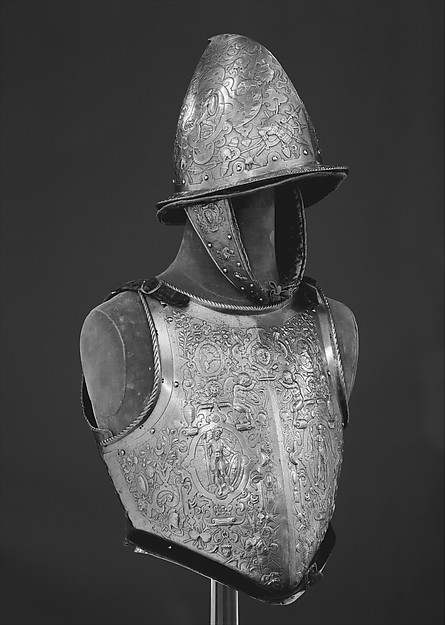 Helmet, Breastplate, and Backplate, Signed on the backplate by D. G. V. Lochorst (Flemish, possibly Antwerp, active ca. 1575), Steel, leather, textile (velvet, wool), Flemish, possibly Antwerp