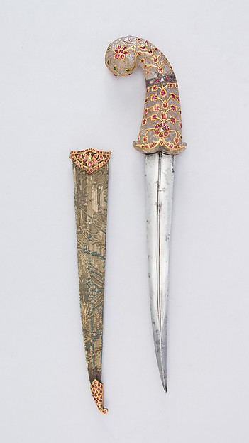 Dagger with Sheath, Steel, rock crystal, gold, silver, rubies, diamonds, emeralds, textile, wood, Indian, Mughal