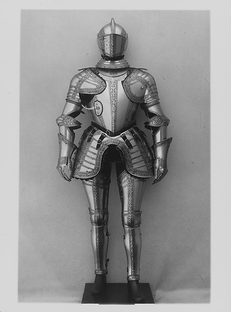 Armor, Steel, gold, leather, copper alloy, textile, Italian, probably Milan