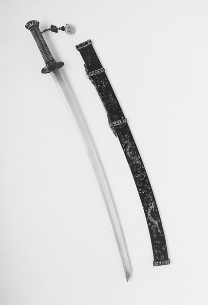 Sword (Peidao) with Scabbard, Steel, wood, iron, mother-or-pearl, gold, coral, malachite, lapis lazuli, silk, lacquer, blade, Japanese; mounting, Chinese