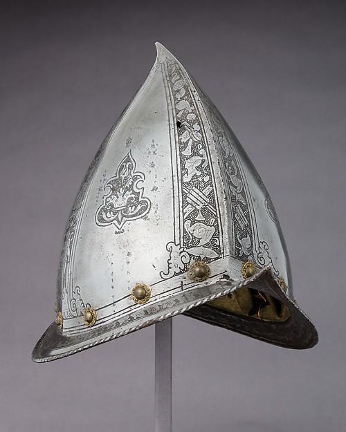 Morion-Cabasset, Steel, brass, leather, Italian